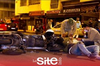 اصطدام قوي بين سيارة و دراجة نارية من الحجم الكبير في الدار البيضاء-فيديو
